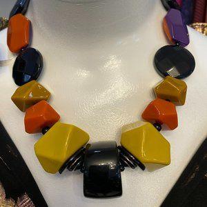 ANGELA CAPUTI Multi-Color Chunky Beaded Necklace w/ Magnetic Closure
